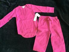 DKNY Baby Girl 6 to 9 Months 2 Piece Pink Fuscha Snap Top + Pants NEW