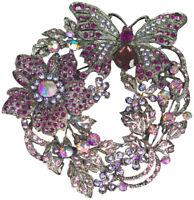 Brosche Kristall Strass Nadel Anstecknadel Metall edel Vintage brooch Lila