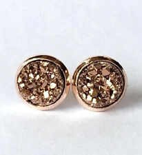 ROSE GOLD SPARKLING DRUZY RESIN GOLD/BROWN ROUND STUD EARRINGS 12MM