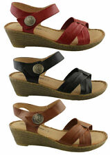 Velcro Leather Ankle Strap Sandals & Flip Flops for Women