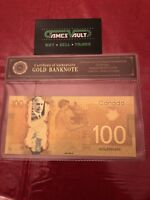 24KT Gold plated $100 Canada bill banknote PURE GOLD colour - FREE SHIPPING&FAST