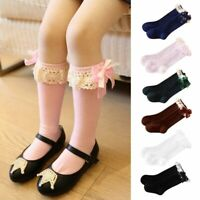 Toddler Kid Baby Girl Bow Lace Frill Knee High Length Warmer School Cotton Socks