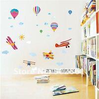 Hot air balloon plane cloud Wall Decor Decal Stickers Removable Nursery Kids pvc