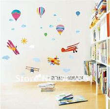 Hot air balloon plane cloud Wall Decor Decal Stickers Removable Nursery Kids pvc