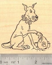 Easter Great Dane Rubber Stamp, Paw Painting Eggs L16511 WM