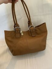 Tignanello Tan Brown Leather Handbag Bag Work Casual Pretty Quality Great Cond