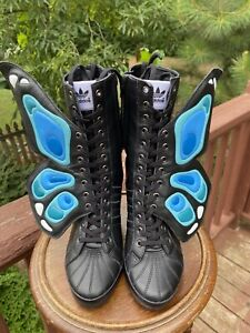 US size 8.5 Adidas Jeremy Scott Buterfly Wings Wedge HI  Black Boots G61078 RARE