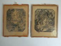 paire de dessin à l'encre de chine paysage végétal EDITH LECOQ 1946