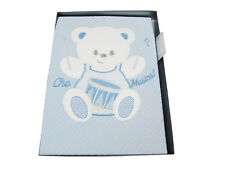 COPERTINA LETTINO NEONATO in puro cotone ricamata, celeste disegno orso - 520d2