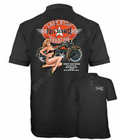 Velocitee Speed Shop Mens Polo Shirt Full Service Pin Up Harley Biker W12721