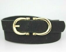 Primark Black Suede Gold Double Buckle Belt Size S