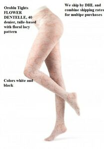 Oroblu Tights FLOWER DENTELLE, 40 denier, tulle-based with floral lacy pattern