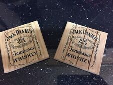 JACK DANIELS COASTER OLD No 7 WHISKEY RUSTIC WOODEN BOTTLE AND GLASS COASTER SET