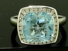 R211- 9k SOLID White Gold NATURAL Topaz & Diamond Ring Cocktail Cushion size M