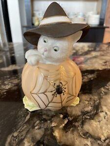 "Lenox Cat with Witch Hat on Pumpkin w/ Spider Web Halloween Figurine 5-1/2"""