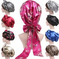 Womens Satin Silk Bow Headscarf Sleeping Bonnet Hair Wrap Cap Headband Headwear