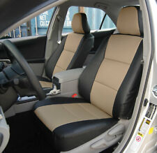 BLACK/BEIGE S.LEATHER CUSTOM MADE FRONT SEAT COVER FOR NISSAN ROGUE 2013-2017
