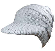 Visor Beanie Hat Light Grey Peaked Cap Winter Unisex One Size