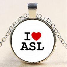 Photo Cabochon Glass Silver Chain Pendant Necklace(I love ASL)