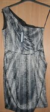 BNWT Atmosphere Black & Silver Grey Snake Animal Print Fitted Lined Dress size 8