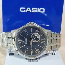Casio Men's Modern Stainless Steel Dress Watch Blue Dial 50M MTP-E105D-2A NEW