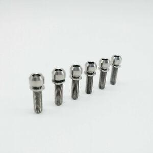 Titanium Ti M5x18mm Screw Allen Head Bolts Washer For Bike Stem 6Pcs/lot