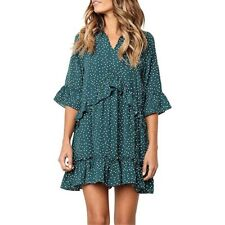 Women Summer Boho Dress Polka Dot Holiday Ruffles Sundress Beach Smock Size 6-20