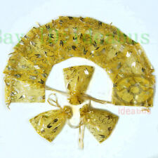 """Organza Pouches Jewelry Wedding Bags 100Pcs Gold with Gold Tulips 4.75""""x3.5"""""""