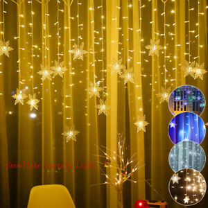 LED Snowflake Fairy String Lights Curtain Net Window Christmas Party With 8 Mode