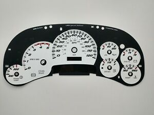 Silverado SS Style White Gauge Face Overlay 03 04 05 Duramax Diesel LED Edition