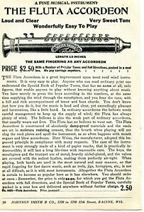1926 small Print Ad of Weiss Silver The Fluta Accordeon Accordion