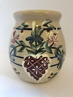 Vintage Paul Storie Pottery Hand Painted Country Crock Vase Texas Heart Rustic