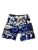 NWT Quicksilver Men's Tie Up Waist Board Shorts Swim Blue Pattern Size 36