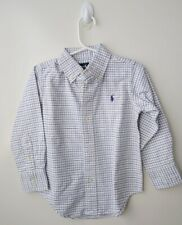 RALPH LAUREN POLO Boys White & Blue Check LS Cotton Shirt - Size 2 (BNWT)