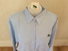 Ladies Grenouille Seersucker Cotton Long Sleeve Shirt, XL,  Dolphin