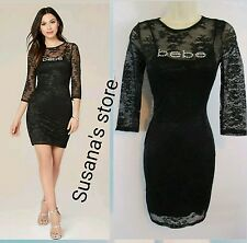 NWT bebe Logo Lace 3/4 Sleeve Dress SIZE XS Sexy with glittering front bebe logo