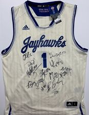 2018-2019 KANSAS JAYHAWKS TEAM SIGNED BASKETBALL JERSEY ENTIRE TEAM BILL SELF