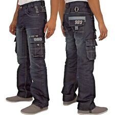 New Mens ENZO Cargo Combat Denim Designer Jeans Trousers Pants with Multipockets
