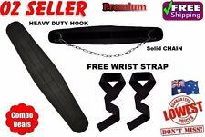 WEIGHT LIFTING BELT GYM BACK PULL UP CHAIN DIPPING DIP WORKOUT + WRIST STRAP,NEW