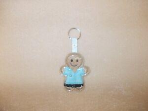 Nurse/Carer Gingerbread L/Blue Uniform' Keyring/Bag Charm.Embroidered Appliqué