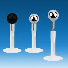 Piercing Trago Labbro Monroe PTFE Sfera Acciaio Nera Cromata 2 mm