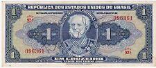 1 Republica Dos Estados Unidos Do Brazil 1943 Banknotes Circulated Hand Signed