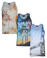 Firetrap Casual Mens Summer Gym Vest Sleevless Tank Top Miami Cali San Francisco