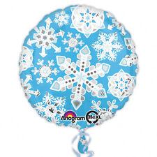 Noël Bleu & Blanc Givré Flocon de Neige Ballon Prismatique Scintillant