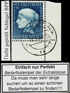 99) Bund 203 FN 0 tiefst Schlegel BPP PERFEKT gest Frankfurt 14.9.55 Bogenecke