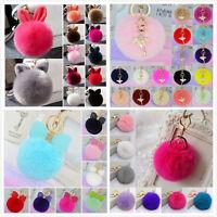 New Handbag Charm Key Ring Chain Rabbit Fur Ball PomPom Cell Phone Car Keychain
