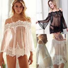 Women's Lingerie Babydoll Sleepwear Underwear Lace Dress Nightwear +G-string UK
