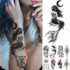 Temporary Tattoos Women Body Art Waterproof Fake Sticker Moon Sea Mermaid Flower
