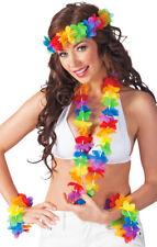 Blumen Hawaii Set Rainbow - Halskette Armbänder Hula Südsee Karibik Mottoparty