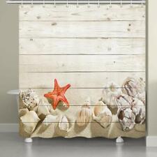 Bathroom Fabric Shower Curtain Starfish and Seashells on Beach Wooden Board